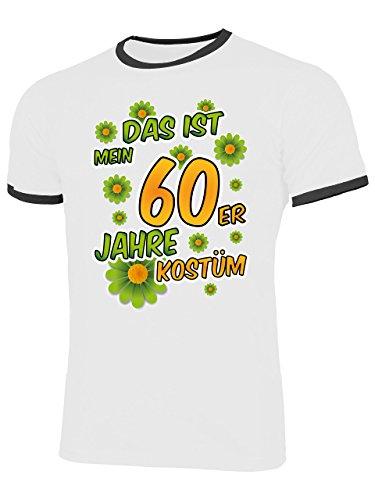 60er Jahre Kostüm Herren T Shirt Motto Schlager Party Karneval Fasching Verkleidung Schlagerkleidung Mottoparty Paar Deko Disco Weste Hut -