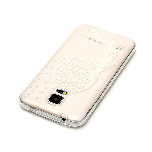 Vandot Samsung Galaxy S5 I9600 Coque de Protection Etui Transparent Antidérapant Pour Samsung Galaxy S5 I9600 Etui Protection Dorsale Étui Slim Invisible Housse Cover Case en TPU Gel Silicone Hull She C-Arbre Blanc