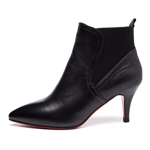 GRRONG Stivali Di Pelle Moda Femminile Multa Tacchi Alti Stivali Sottolineato Stivali Scarpe Black