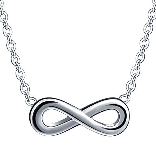 Feilok fashion in acciaio inox simbolo dell' infinito collana ciondolo regolabile estendere catena per donna argento, oro, base metal, colore: silver, cod. dzsy0208-silver