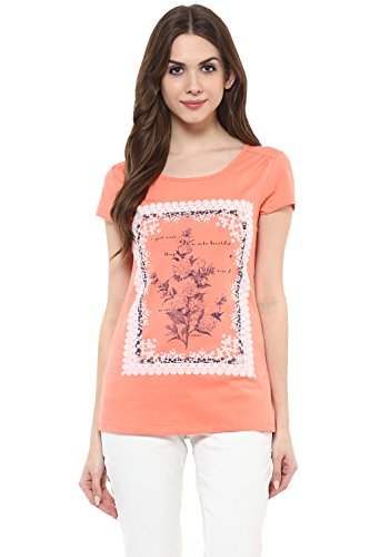 Honey by Pantaloons Women's Round Neck T-Shirt (205000005620402, Orange, Small)  available at amazon for Rs.249