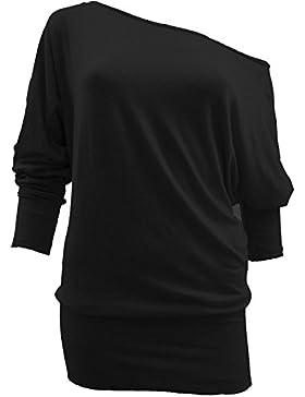 Camiseta hombro caído de manga 3/4 para mujer, estilo baggy, tallas UK tamaños 8–24
