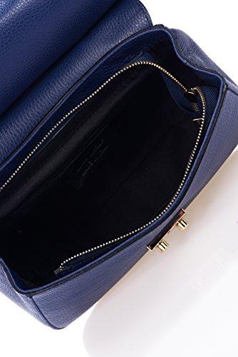 Laura Moretti - Ledertasche mit Klappenverschluss (FLAP -Stil) Blau