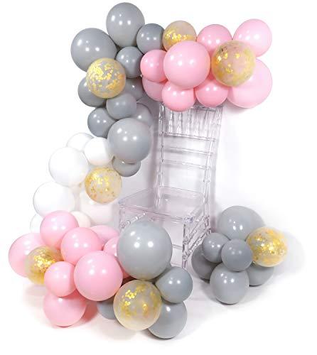 PuTwo Grau Weiß Rosa Luftballons 70 Stück Grau Luftballons Luftballons Weiß Luftballons Rosa und Konfetti Luftballons, Luftballons Matt für Deko Hochzeit, Partydeko Rosa, Tauf Deko, Deko Geburtstag