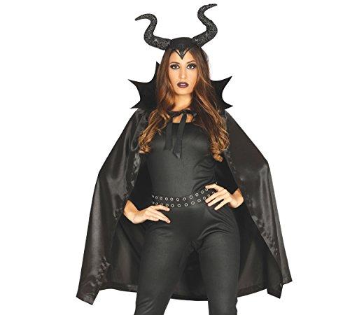 Teufel mit Hörnern Halloween Umhang Horror Robe Vampirumhang schwarz 100 cm (Halloween Schwarze Hörner)