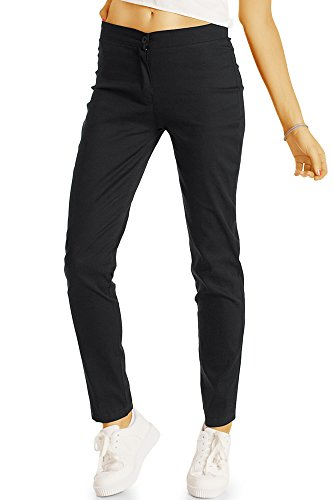 Bestyledberlin Damen Chino, Normal Waist Slim Fit Hose, Basic Stretch Stoffhose j55f 38/M schwarz