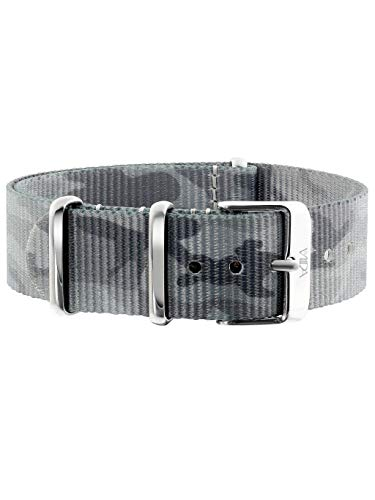 laVIIDA Uhrband LB-SIB1708S Ersatzband Uhrband Stoff 18 mm Camouflage-Silber