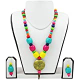 FashionValley Colorful Wooden Beads Necklace for Girls/Women