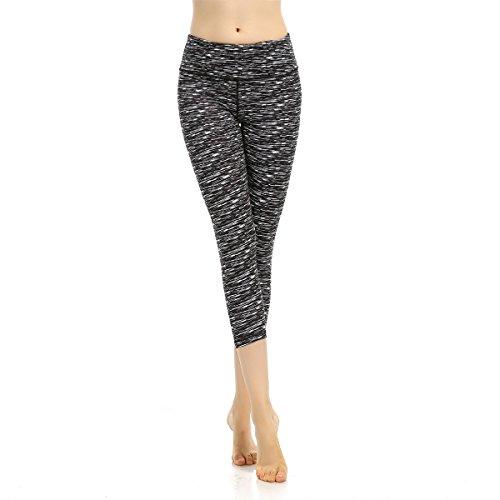 SOUTEAM Womens Workout Capris mit Pocket Stretchy High Taille Trainingsstrumpfhose, schwarz & weiß, klein (Taille Steigen Hoch)