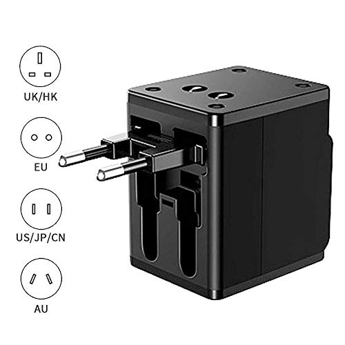 Womdee Adattatore Universale da Viaggio, Wall Charger AC Power Plug Adaptor with 2 USB for US/UK/EU/aus Caricatore Multifunzioni per Oltre 150 Paesi Internazionale