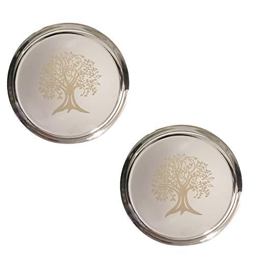 Hall Tree Set (NYGT Edelstahlteller-Set in flachen Speisetellern mit Spiegel-Finish, Baumaufdruck, Thali-Silber Teller, Geschirr für indische Speisen und Gerichte (2 Stück))