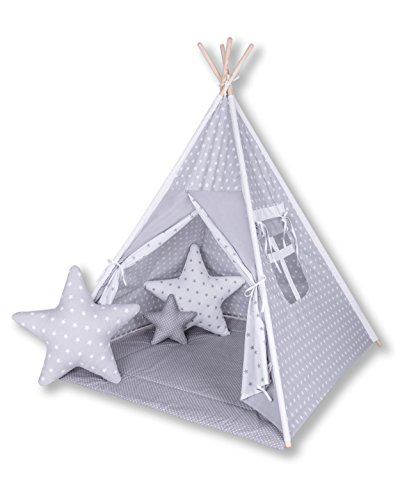 Amilian® Tipi Spielzelt Zelt für Kinder T16 (Spielzelt mit Tipidecke/mit 3 x...