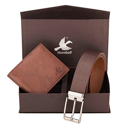 Hornbull Men's Brown Wallet and Belt Combo