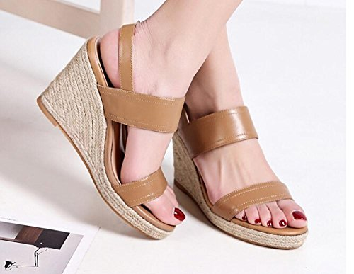 Beauqueen Wedge Open-Toe donne di estate sandali Pump Buckle sandali semplici scuri Nero Europa formato 34-39 light brown