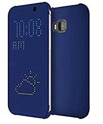 Micomy Dot View Touch Sense Flip Back Case Cover for HTC One A9 -Blue