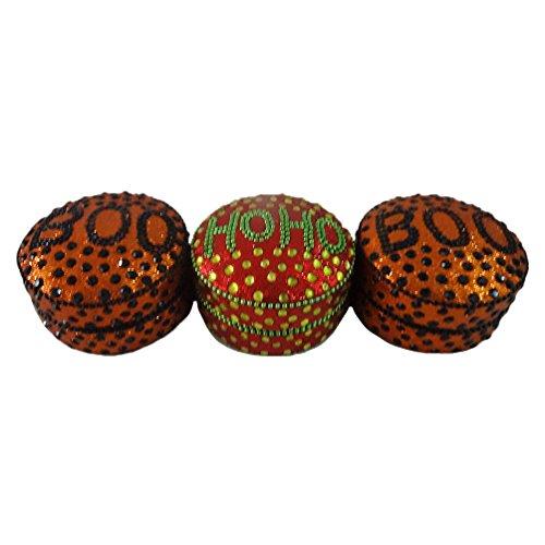 scatola della pillola decorativi Set di 3 pezzi antichi in alluminio in stile materiale lac marrone rossa stoccaggio caso Accessori Articolo regalo di monili delle donne