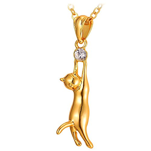 U7 Legenden™ Collar de Oro de 18K con Hermoso Colgante de Gato - Pedrería Austriaca