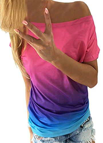 Sommer-Deman-Farbe-Gradient-Mode-Persnlichkeit-Drucken-T-Shirt-Kurzarm-Tops-Sportshirt-Oberteile-Sweatshirt