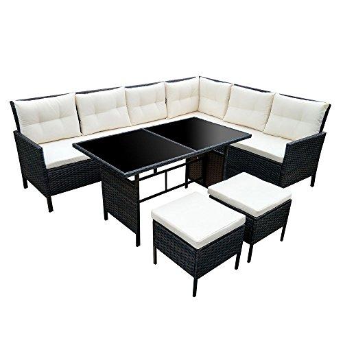 SVITA POLY RATTAN Set Gartenmöbel Rattan-Lounge Gartenset Sofa Garnitur Couch-Eck (XXL, Braun)