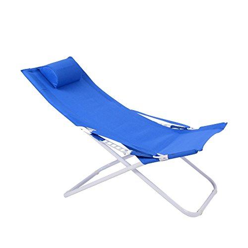 Blaue Strand-klapp-stühle (XXHDYR Lounge Chair Faltbar Lounge Stuhl Mittagspause Stuhl Siesta Stuhl Leinwand Sonne Strand Stuhl Draussen Stuhl Klappstuhl (Farbe : Blau))