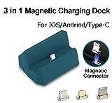 Chargeur Magnétique Dock Station de Charge, 3 en 1 Micro USB et i-Phone & Type-C, Auswaur Chargeur Dock Station Station de recharge rapide pour Phone X 8 7 6 6 s Plus Samsung Galaxy S6 S7 S8 Plus (Bleu)