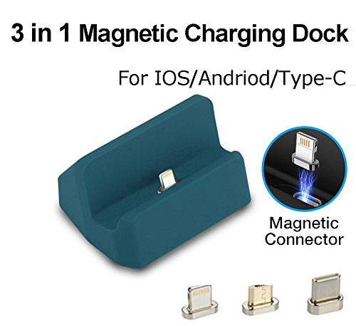 Stazione di ricarica per caricabatterie magnetico, 3 in 1 Micro USB e Lightning & Type-C, Caricabatterie Auswaur Base docking station Ricarica per iPhone X 8 7 6 6s Plus Samsung Galaxy S6 S7 S8 Plus (Blu)