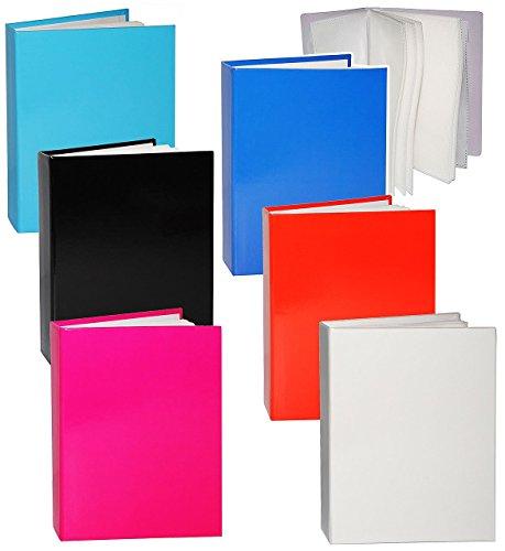 1-stuck-einsteckalbum-einfarbig-bunt-15-x-10-cm-gebunden-zum-einstecken-36-bilder-weiss-schwarz-blau