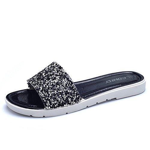 Estate Sandali Sandali piani antisdrucciolevoli dei sandali del diamante delle donne (multi colore opzionale) Colore / formato facoltativo 1001