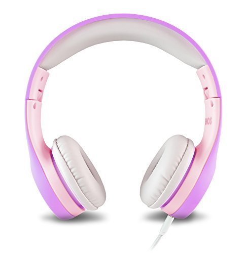 Auriculares para niños con volumen limitado y cable extraíble, para niños y niñas, lavanda