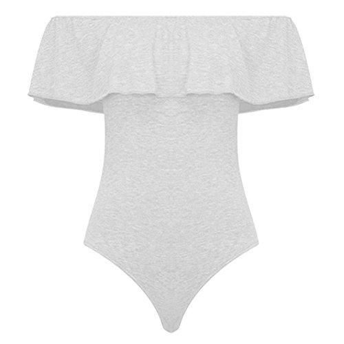 MIOIM Damen Bodysuit Jumpsuit Rüschen Off shoulder Stretch Bodycon Playsuit Overall Tops Festlich Baumwolle Weiß