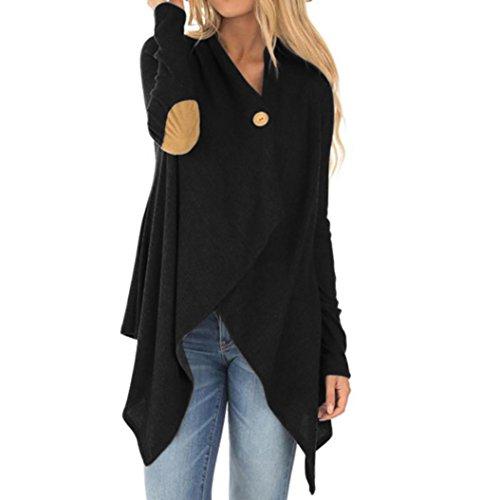 Damen Beiläufig Mantel Strickjacke, ZIYOU Frau Offene Front Jacke / Lose Jacke Lange Ärmel Patchwork Outwear Streetwear (Schwarz, XL)