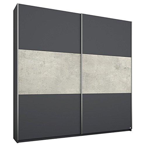 Schwebetürenschrank MALISO Grau-Metallic, Beton-Optik, Breite 175 cm, Höhe 210 cm, Tiefe 59 cm, 2 Türen, 2 Einlege-Böden, 2 Kleider-Stangen