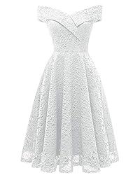 LA ORCHID Laorchid Mode Damen Spitze Abendkleider Brautjungfern Kleid Cocktail Party Ärmlos Weiss XXL