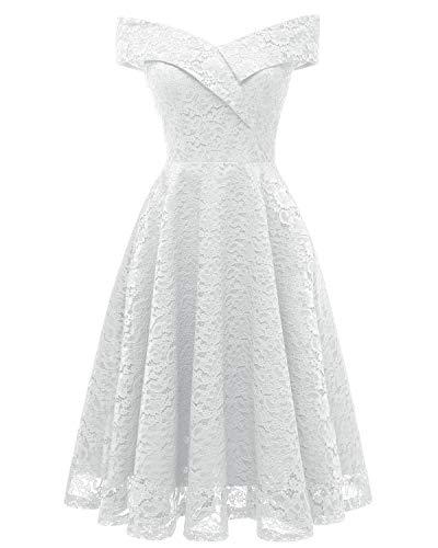 Laorchid Mode Damen Spitze Abendkleider Brautjungfern Kleid Cocktail Party Ärmlos Weiss S (Weißes Kleid Frauen Party)