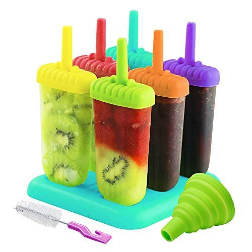 AcserGery Eisformen 6 Eisformen Popsicle Formen Set, EIS am Stiel Bereiter für Kinder, mit Reinigungsbürste und Falttrichter (Farbmischung)