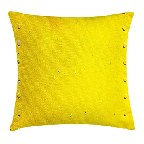 Yellow Throw Pillow Cushion Cover, Vintage Worn Out Dirty Industrial Wall Plate and Tacks Photo with Productivity Theme, Decorative Square Accent Pillow Case, 18 X 18 inches, Yellow Wall Plate Insert