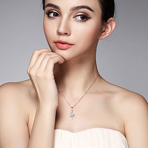 B.Catcher Perle Kette Damen Halskette Anhänger 925er Silber Süßwasserperlen Zuchtperle Schmuck 45CM Kettenlänge Valentinstag Geschenk