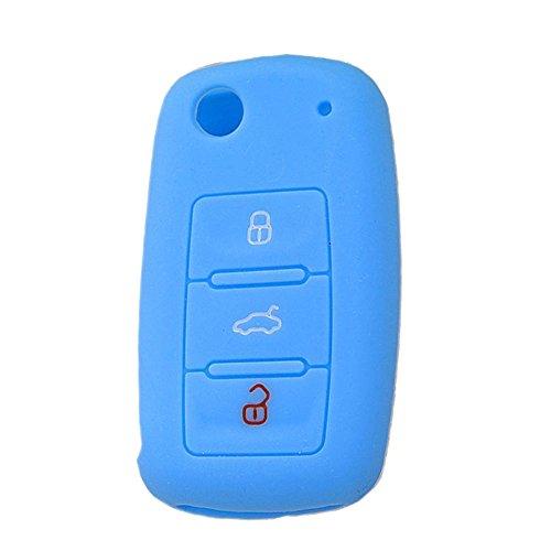 SpringPear® Leuchtend Türkis Schutzhülle für VW Seat Skoda 3 Tasten Klappschlüssel Silikon Hülle