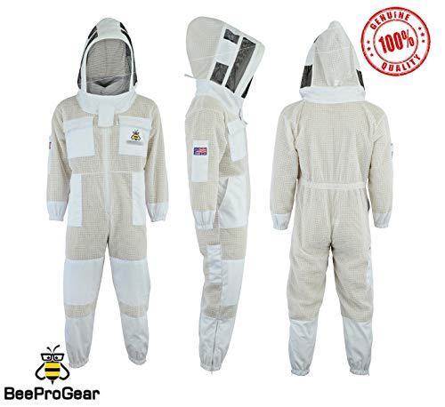 Bee Suit SFV 3X Layers Sicherheit, Unisex White Fabric Mesh Imkeranzug, Imkeranzug Bee Veil Imker Outfit Imker Hut Fencing Veil (L)