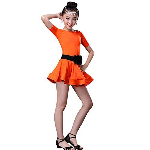 Orange Kind Katze Kostüm - Sllowwa Lateinisches Tanz Kleid Mädchen Kostüm mit Bowknot Gürtel Salsa Tango Rumba Tanz Verschleiß + Leggings Party Tanzkostüm für 2-13 Jahre Kinder Weihnachts Karneval Party Kostüm(Orange,160)