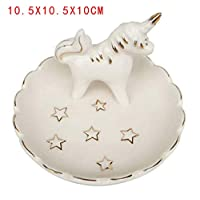 FGHHJ Ornaments Statues Decorations Painted Ceramics Small Umbrella Poodle Jewelry Tray Bicycle High Heels Jewelry Stand, Unicorn Jewelry Dish
