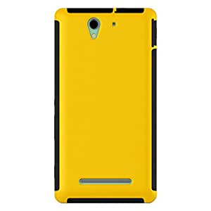 For SONY XPERIA C3 2 in 1 Full Body Touch Screen Protector Hard Case Cover - YELLOW