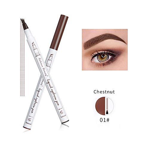 Cooljun tatouage crayon à sourcils avec 4 conseils longue durée imperméable à l'eau gel pour les yeux Maquillage (A)