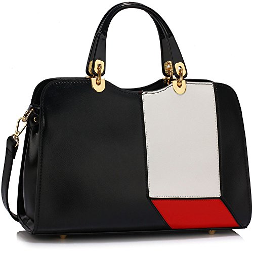 LS2, Borsa a mano donna Black/Red/White