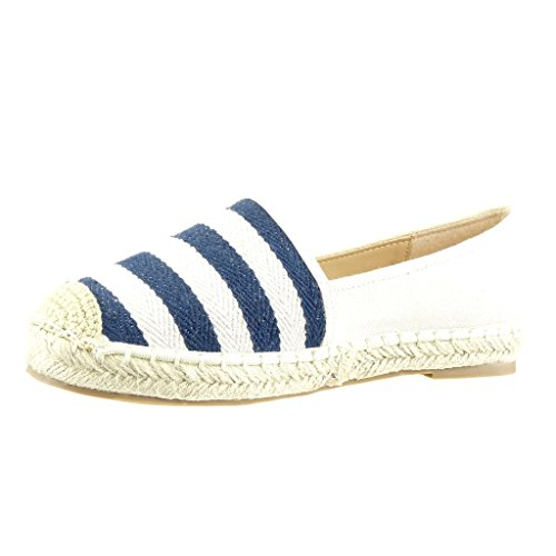 Angkorly Damen Schuhe Espadrilles - Slip-on - Streifen Flache Ferse 2.5 cm Blau