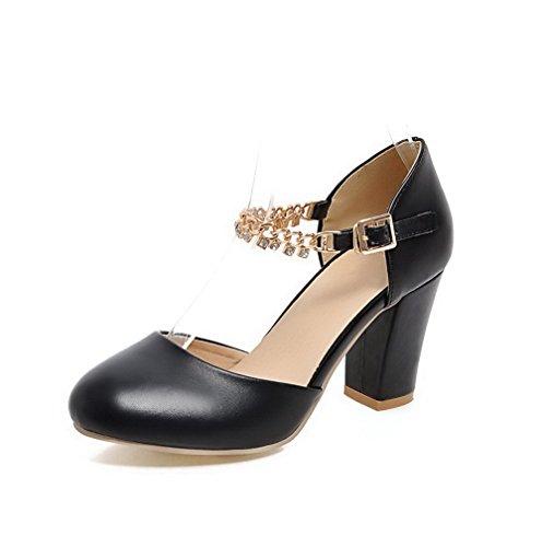 AgooLar Femme Rond à Talon Haut Matière Souple Mosaïque Boucle Chaussures Légeres Noir