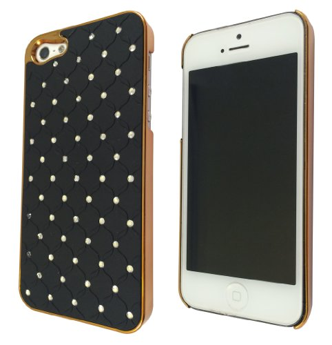 Designer Quilted diamane de luxe Bling style iPhone 55S Hard Coque Case Back Cover/doré