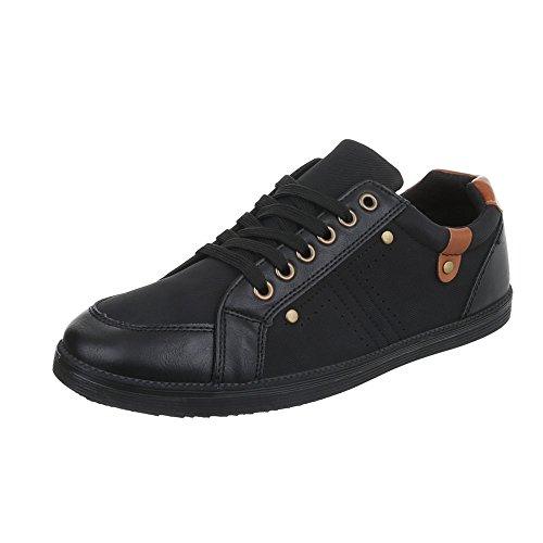 Ital-Design Turnschuhe Damen-Schuhe Low-Top Schnürer Schnürsenkel Sneaker Schwarz, Gr 41, C9060-1-