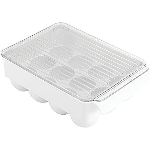 InterDesign frigorífico pequeño Binz 12 soporte para huevos, blanco/transparente
