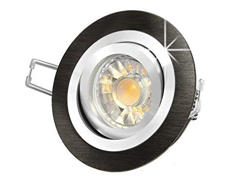 LED Einbau-Strahler RF-2 schwenkbar, Einbau-Leuchte Aluminium gebürstet schwarz eloxiert, SMD 5W warm-weiß, GU10 230V [IHRE VORTEILE: einfacher EINBAU, hervorragende LEUCHTKRAFT, LICHTQUALITÄT und VERARBEITUNG] (Weiss Warm Schwarz Eloxiertes Licht)